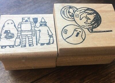 Vintage Halloween Rubber Stamp Lot Trick Treaters Witch Ghost Jol Look