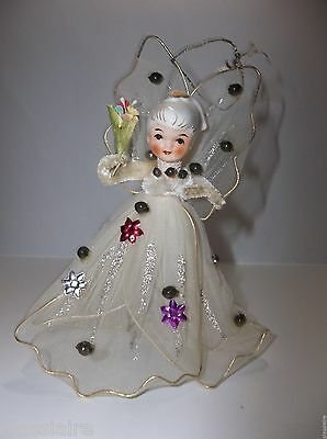Vintage SEBNITZ German Folk Art ANGEL Christmas Tree Ornament Porcelain Head