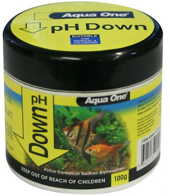 Aqua One Aquarium Fish Tank Quick Drop PH Down Powder Buffer 100g