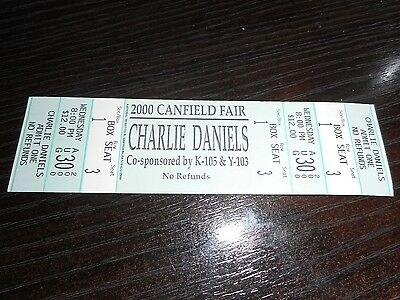 Charlie Daniels 2000 Canfield Fair Unused Concert Ticket