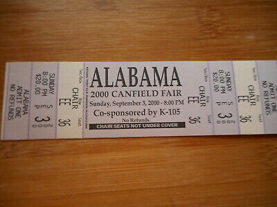 Alabama 2000 Canfield Fair Unused Concert Ticket