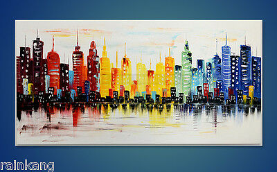 Large Abstract Asian Art Oil Painting Wall Decor canvas Modern CITY (No Frame)