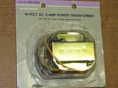 ARCHER 273-1515B 9v+9v (18vac) 2 amp power transformer, 120v to 9v or 18v AC NEW