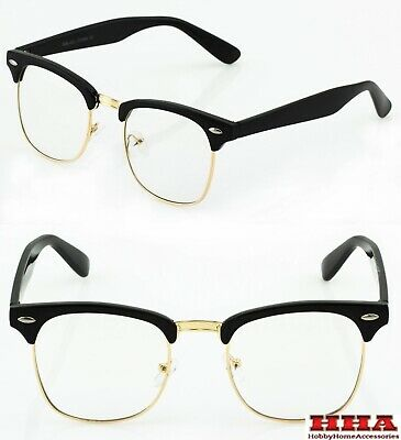 CLASSIC 50's VINTAGE RETRO Style Clear Lens EYE GLASSES Black Gold Fashion Frame
