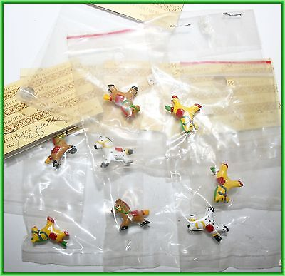 Miniature Small Dollhouse Lot Toy Rocking Horse Pony Animal Yellow Red White