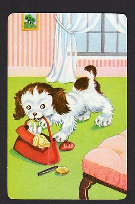 Vintage Swap/Playing Card - Naughty Puppy with Handbag