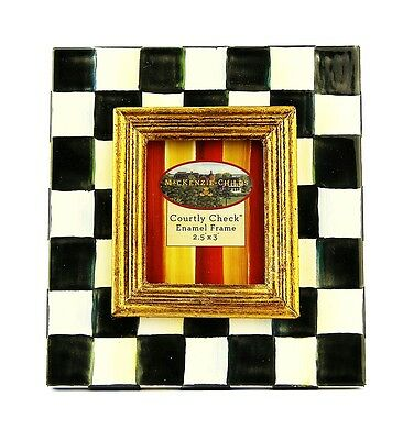 "Mackenzie Childs Amazing Courtly Check 2.5"" X 3"" Enamel Frame Brand New Box"