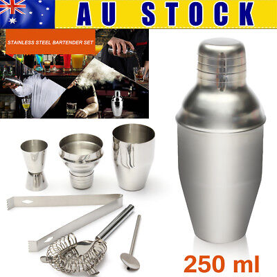5Pcs 250ML Stainless Steel Cocktail Shaker Mixer Bar Drink Bartender Kit Set