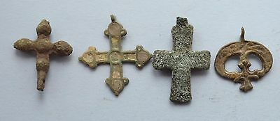 Medieval Viking period christianity Cross & Lunar moon shaped pendant lot