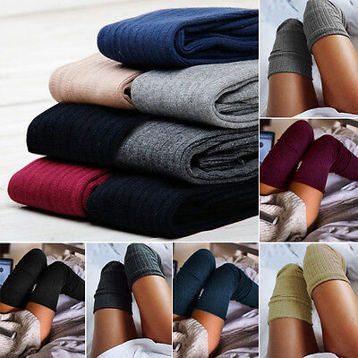 Women Fashion Solid Knited Above-Knee Long Socks Stockings Leg-Warmers