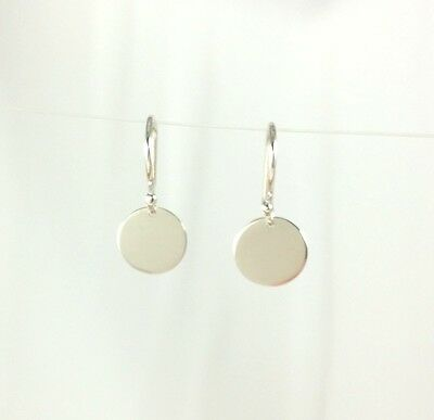 Solid 925 Sterling Silver 9.5mm Drop Disc Earrings Polished Finish