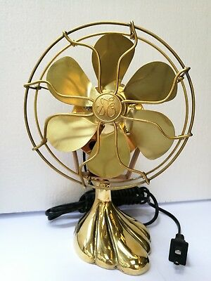 """6"""" Blades Brass Electric Table Fan Oscillating Work Double Frame Vintage Style"""