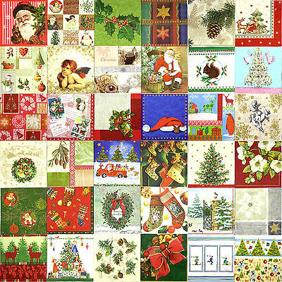 36 Different Christmas Paper Napkins for decoupage or party