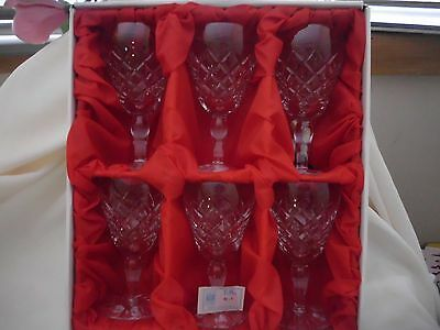 Vintage Set of 6 Boxed Bohemia Crystal Wine Goblets Sml Size Made In Czech