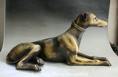 """21.2""""Old Chinese Copper Folk Fengshui 12 Zodiac Year Animal Look Door Dog Statue"""