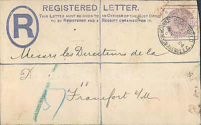 UK early registered cover to Frankfurt Germany 1884