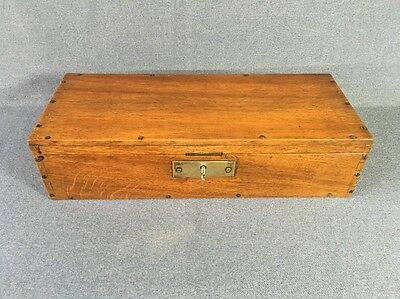 Drawing Set in Oak Box with Key Antique Draughtmans Set