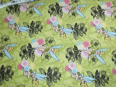 New Hand Made Tinker Bell on Lime Flannel Fitted Crib/Toddler Sheet