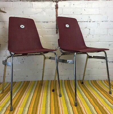 Pair Of Vintage Stacking Chairs Made In France Retro Polypropylene