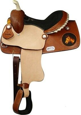 """13"""" Double T Western Youth Saddle With Embroidered Horse Head Logo On Skirt!"""