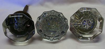 Set  of 3  Vintage  Glass  Doorknobs