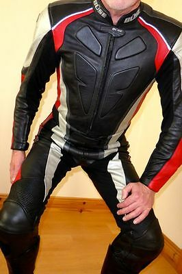 Leather Jeans Jacket Motorcycle Suit Buse LederKombi Leathers Cuir Mens