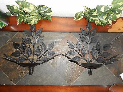 2 BLACK WROUGHT IRON WALL SCONCES Leaves Pattern Candle Holders