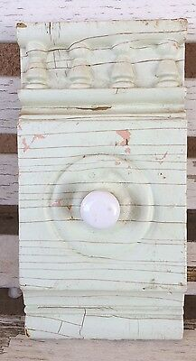 Victorian Architectural Salvaged Chippy Wood Pediment Wall Rack ~ Mint Green