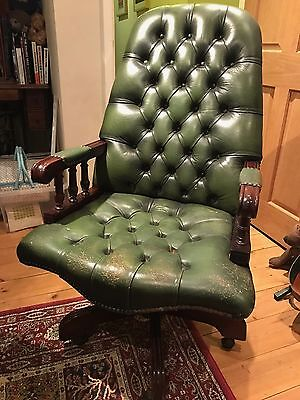 Chesterfield Style Green Leather Swivel Office Desk Chair Captains Chair