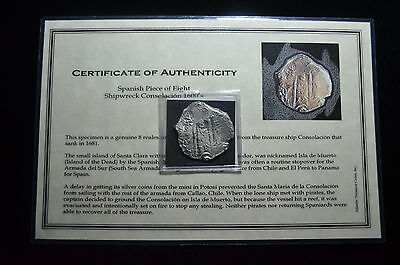 "1678 Potosi, 8 Reales High Grade ""consolacion"" Pirate Shipwreck Coin With Coa"
