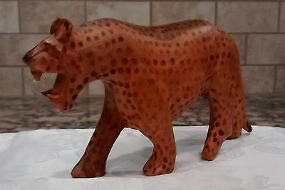 Wooden Hand Carved African Wild Animal Spotted Cheetah Leopard