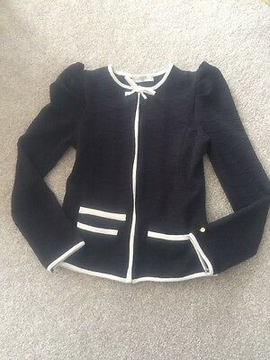 Super Trash SuperTrash Girls Black Jacket White Trim Age 8 128 Ex Cond Clarissa