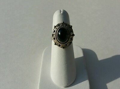 Vintage Sterling Silver Mexico Labradorite Poison Ring
