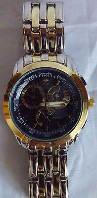 Men's Bella and Rose Stainless Steel Back Time, Calendar, Alarm, Stop Watch
