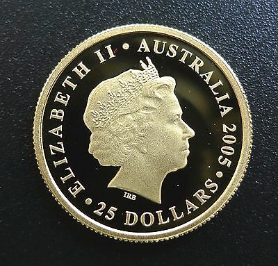 2005 GOLD AUSTRALIA $25 DOLLAR 150TH ANNIVERSARY SOVEREIGN COIN & in a capsule
