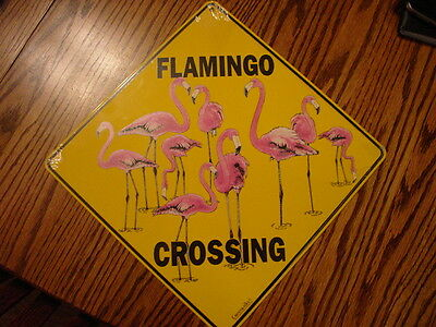 PINK FLAMINGO CROSSING SIGN Aluminum Crosswalks Picture New Shrink Wrapped