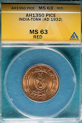 AH1350 ANACS (AD1932) MS63 RED India-Tonk Pice!! #B4785