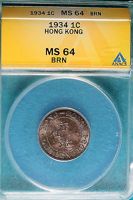 1934 ANACS MS64 Brown Hong Kong One Cent!! #B4782