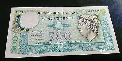 Italy 500 Lire 1976 Banknote, Circulated
