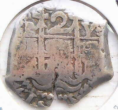 Silver 1727 PY Bolivia 2 Reales Spanish Colonial Cob Coin Assayer Y Potosi #PB10