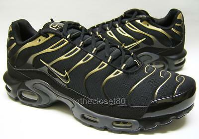 newest 9a221 cffbc Nike Air Max Plus Tn Tuned 1 Black Metallic Gold Mens Trainers 852630 004