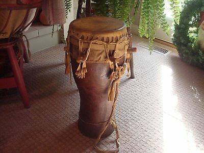 "22""  Antique Authentic  African Wooden Ceremonial Skin & Pegs Drum /COLLECTIBLE!"