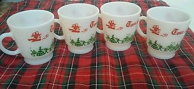 Buy It Now Vtg. 4 Christmas Tom & Jerry Milk Glass Ch Sleigh Eggnog Mugs Cups