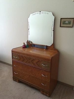 Antique 1930s Waterfall Dresser with Mirror
