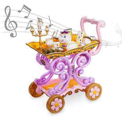 AUTHENTIC DISNEY Beauty and the Beast ''Be Our Guest'' Singing Tea Cart Play Set