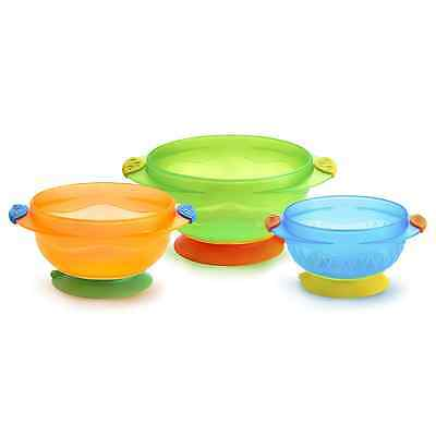 Munchkin Three Stay Put Suction Toddlers Training Feeding Bowl x 3 FREE DELIVERY