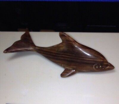"Vintage  Hand Carved Wooden Dolphin Statue Figure Figurine 6"" Inch"