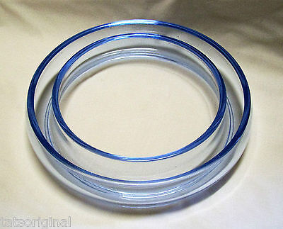 Vintage Blue Glass Posy Ring Float Bowl Round Impressed England Exc Con