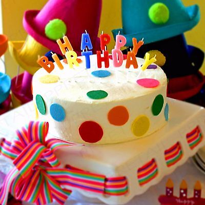 13Pc HAPPY BIRTHDAY CAKE CANDLE SET Coloured Letters Decoration Party Topper