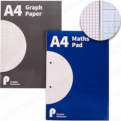 QUALITY A4 MATHS PAD SQUARED Or GRAPH PAPER Notepad 100Page Grid School Homework